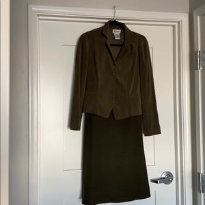 Two Piece Green Suit Skirt and Blazer Size 6